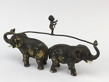 Austrian Cold Painted Bronze Elephants with Boy on Tightrope