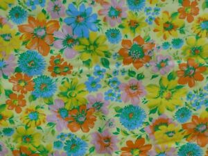 Antique English Floral Bird Chintz Cotton Fabric ~ Peach Green Yellow Blue