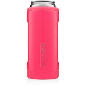Brumate Hopsulator Slim Can Cooler Tumbler 12 oz Drink Holder Neon Pink