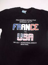 "FIFA Women's World Cup Black T-Shirt ""FRANCE VS. USA"" Germany 2011 Soccer Medium"