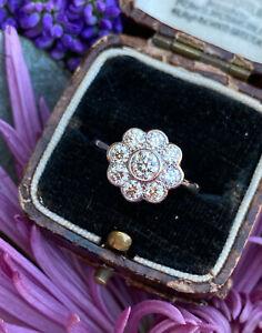 Diamond Daisy Cluster Ring Platinum 1.05ct