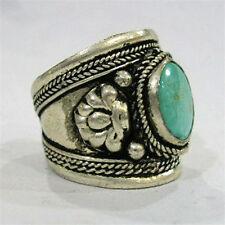 Large Adjustable Tibetan Natural Oval Turquoise Gemstone Dorje Amulet Ring