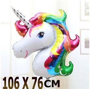 Supershape 107x76cm Unicorn Head Foil Rainbow Balloon Birthday Party helium& air
