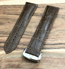 OMEGA WATCH STRAP GENUINE LEATHER 22MM MENS DEPLOYMENT BUCKLE SEAMASTER BAND