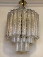 VINTAGE ItalIan MURANO Round Tube Art Glass Dining Room Tier Chandelier TRONCHI