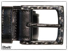 2BELT - 100% carbon fiber buckle black leather belt - AIRPORT FRIENDLY