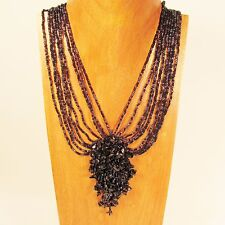 "16"" Black Stone Chip Cluster Handmade Seed Bead Necklace FREE SHIPPING!"