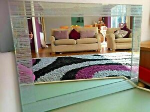 Extra Large Big Silver Glitter Frame wall Mirror Glass Lounge Bedroom 80x120cm