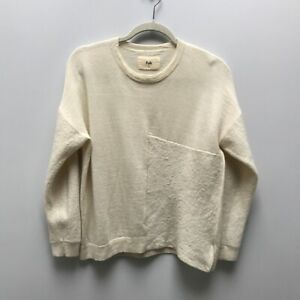 Folk Clothing - Cream 100% Wool Panelled Knit Jumper - Size 2 / UK M