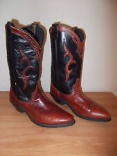 DINGO WOMENS BOOTS-BLACK & BROWN LEATHER-SIZE:6.5 M-WESTERN-EUC-USA-FAST SHIP