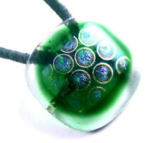Dichroic Fused Glass PENDANT & PIN Green Emerald Transparent Rainbow Halo Dot 1""