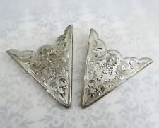 Pair of finely engraved fancy Sterling silver collar tips western cowboy wear