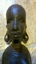EUC~ EBONY WOOD CARVING: African Woman  Very Nicely Made as Pictured  12 3/4""