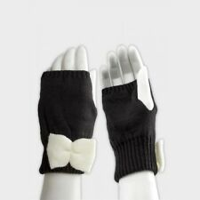 Ladies ASOS Stylish Black Fingerless Palm Warmers With White Bow - One Size