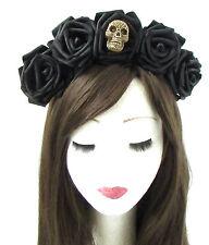 Large Black Sugar Skull Rose Flower Hair Crown Headband Halloween Goth Vtg 468