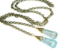 EGYPTIAN REVIVAL Lariat Necklace CZECH GLASS Turquoise PHAROAH Stones