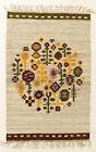 MOUNTAIN FLOWERS Vintage Hand Loomed Polish Folk Art Textile Wall Hanging / Rug