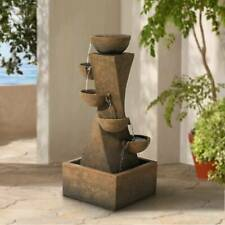 """Outdoor Floor Water Fountain with Light LED 27 1/2"""" Cascading Bowls Yard Garden"""