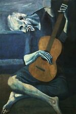 "3.25"" Pablo Picasso ""The Old Guitarist"" STICKER. Fine art for your file cabinet."