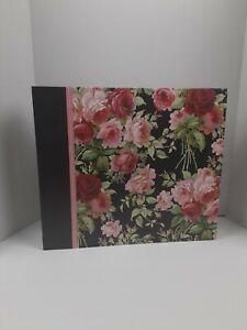 "Extra Large Vintage Photo Album /Pink Roses / 13"" x 15"" 3 ring binder /see pics"