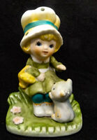 1980's  HOMCO Hummel-like Porcelain Girl With Cat Figurine # 1430