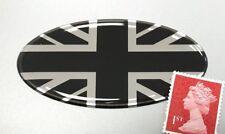 Union Jack Flag Sticker Domed Finish Black & Chrome 75mm Oval