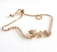 Lady 23.5cm 18K Yellow Gold Plated CZ Cubic Butterfly Adjustable Bracelet Anklet