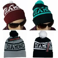 Unisex Winter Diamond Knit Ski Warm Crochet Slouch Hat Hip-hop Ball Beanie Cap