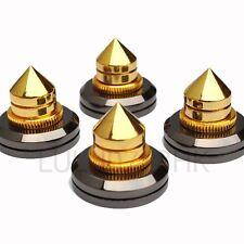 4x Spike Cone 4x Gold Pad Base Isolation Improved Sound Kit Set Audio Speaker G
