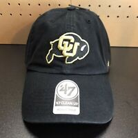 '47 Brand Colorado Buffaloes Clean Up Adjustable Strapback Hat Cap Black NEW
