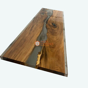 Epoxy Table, Emerald Clear Epoxy River Table, Epoxy Dining Table, Acacia Table