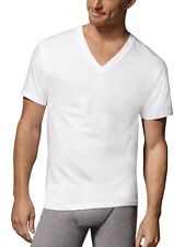 6 Hanes Men's Tall Tagless ComfortSoft V-neck Undershirts 115hnt XLT White
