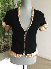 Women MODA INTERNATIONAL Black Gold Cashmere Cardigan Short Sleeve Silk Lining S
