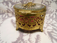 Vintage  Gold Filigree Glass Jewelry Casket Trinket Box Rose hinged