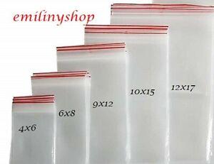 lot de 100 sachets pochettes bag zip plastique transparent  différentes tailles