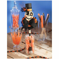 "Bethany Lowe 14"" Voodoo Skeleton Sugar Skull Wand Orange Black Halloween Decor"