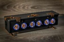 Unique IN-4 Handmade Nixie Clock Leather design (Z568M, IN-18 style) 6-digit