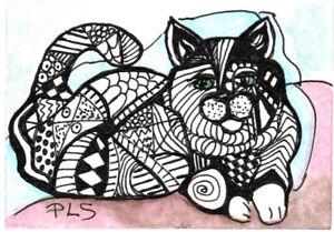 ACEO/ATC  Fat Cat Zen Doodle Tangle Design Abstract Feline Art by Penny StewArt