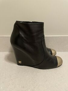 Authentic Preowned Womens Chanel Wedge Learher Boots, Size 41
