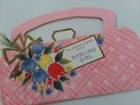 Vtg EASTER PURSE Card w Mirror for Darling GIRL Doll MID CENTURY GREETING CARD