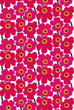 "Marimekko Pieni Unikko fabric half yard 18"" x 56"" cotton, Finland, red white"