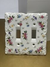Vintage Porcelain Floral Double Light Switch Cover White Takahasi Japan