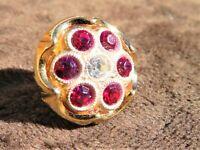 Vintage Ruby Diamond Colored Tie Tack Lapel Pin Stud Gold Tone