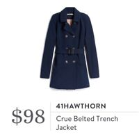 41 Hawthorn Stitch Fix Womens Size Small Crue Belted Trench Jacket Navy Blue $98