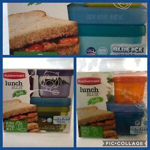 RUBBERMAID LUNCH BLOX KIDS 4 PIECE KIT W/ BLUE ICE BLOCKS BLUE PURPLE OR GREEN