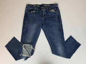 Madewell Women's Jeans Size 29 Skinny Skinny Distressed Blue Raw Hem Cutoff