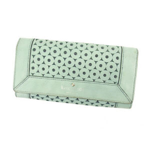 Kate Spade Wallet Purse Long Wallet Green Silver Woman Authentic Used L792