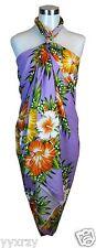 Jumbo Plus Size Tropical Cruise Beach Luau Sarong Wrap Dress Pareo Light Purple