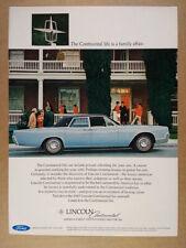 1967 Lincoln Continental blue sedan photo vintage print Ad