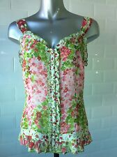 SIZE 10 PER UNA CHIFFON CAMI TOP WHITE PINK GREEN FLORAL PRINT HOLIDAY WINTERSUN